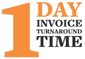 1 day invoice turnaround time