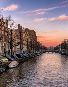 A canal at sunset in the Hague, Netherlands.