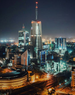 The Nairobi city scape light by the light of buildings at night.