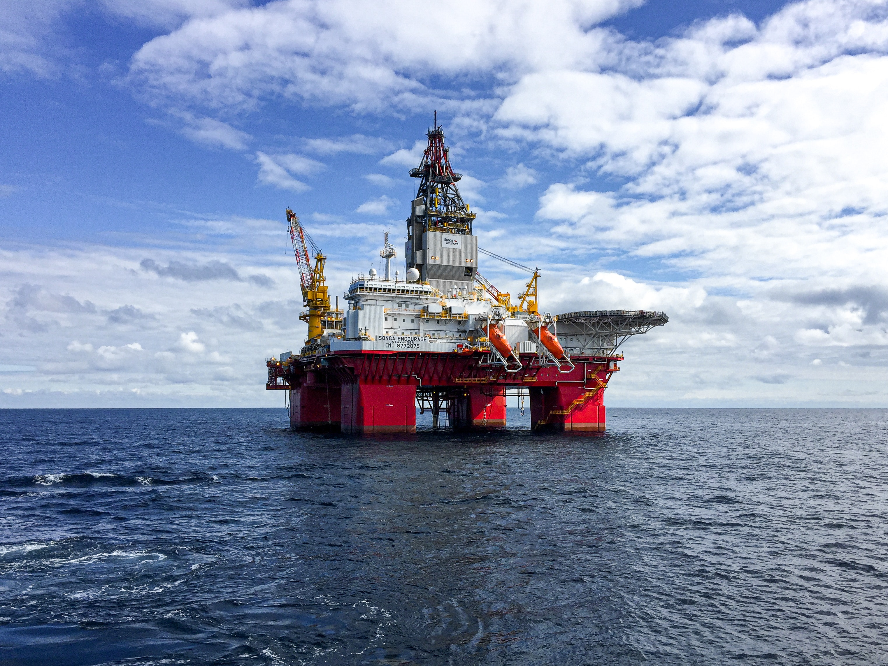 An oil and gas platform in the sea