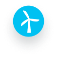 Windmill icon, which illustrates regenerative energy