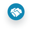 A handshake icon, to illustrate collaboration