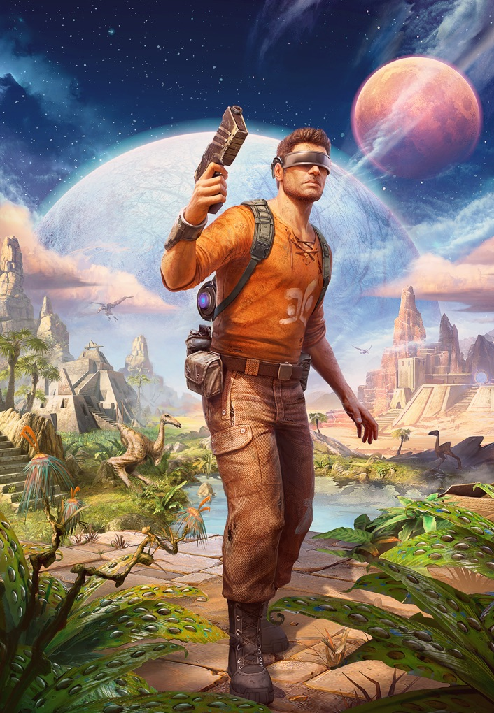 Outcast Game Art - Man with Pistol at the forefront, two planets in the background, desert with pyramids, jungle with pyramids at the forefront, lake with dinosaurs.