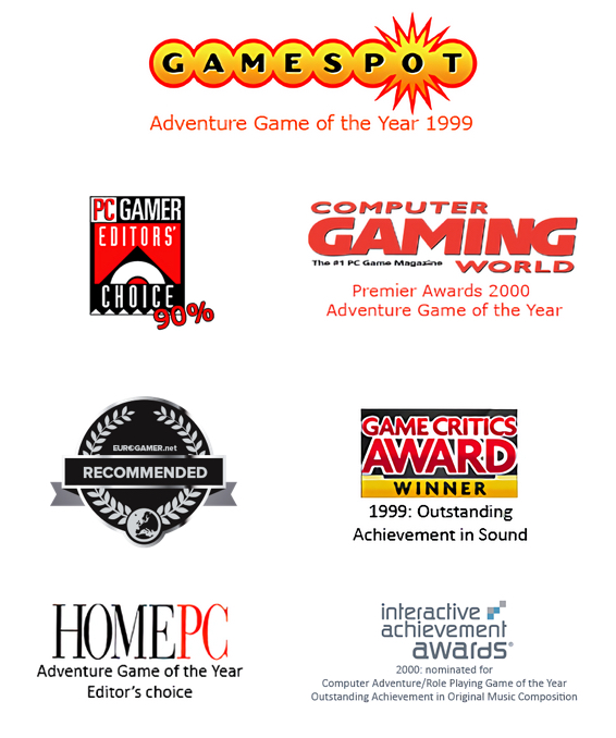 Appeal Studios Awards - Gamespot, PC Gamers 90%, Computer Gaming World, Game Critics Award Winner, Home PC Game of the Year, Interactive Achievement Award