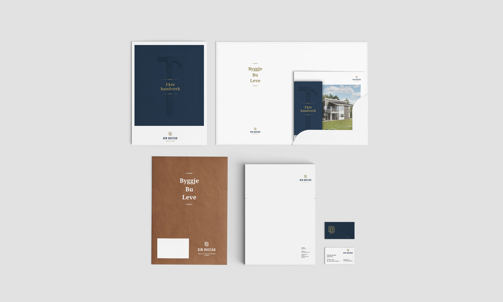 Din Bustad visual identity, designed by SBDS