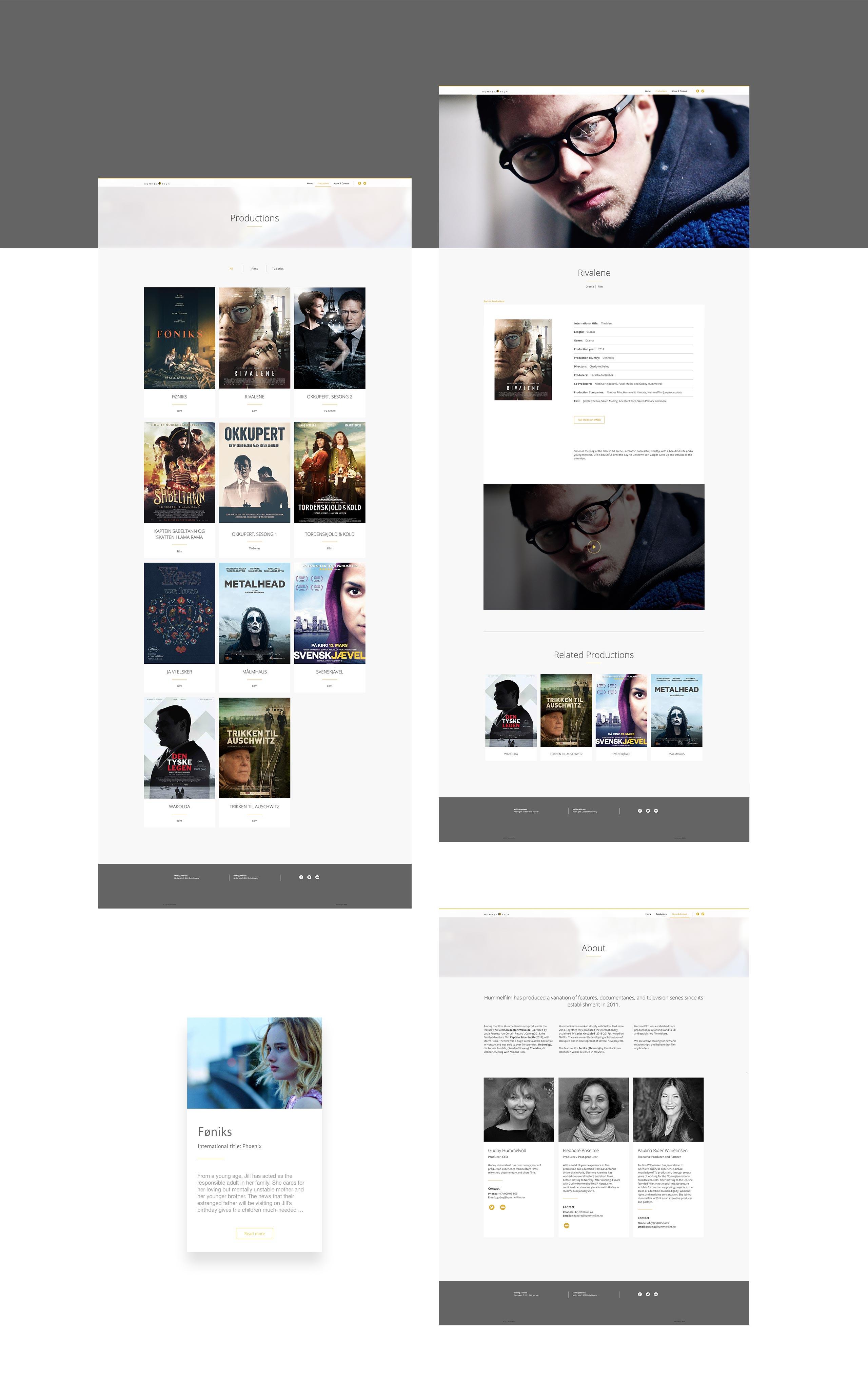 hummelfilm website, designed by SBDS