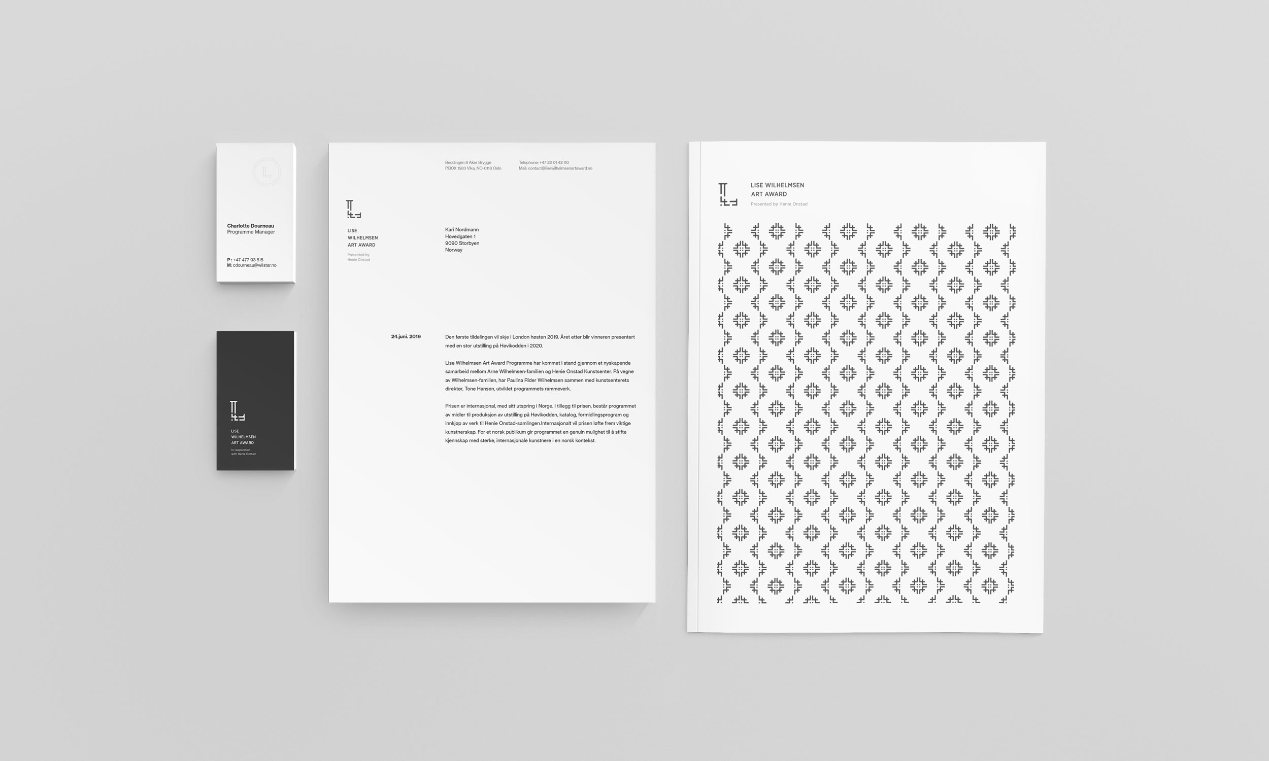 Lise Wilhelmsen Art Award visual identity, design by SBDS