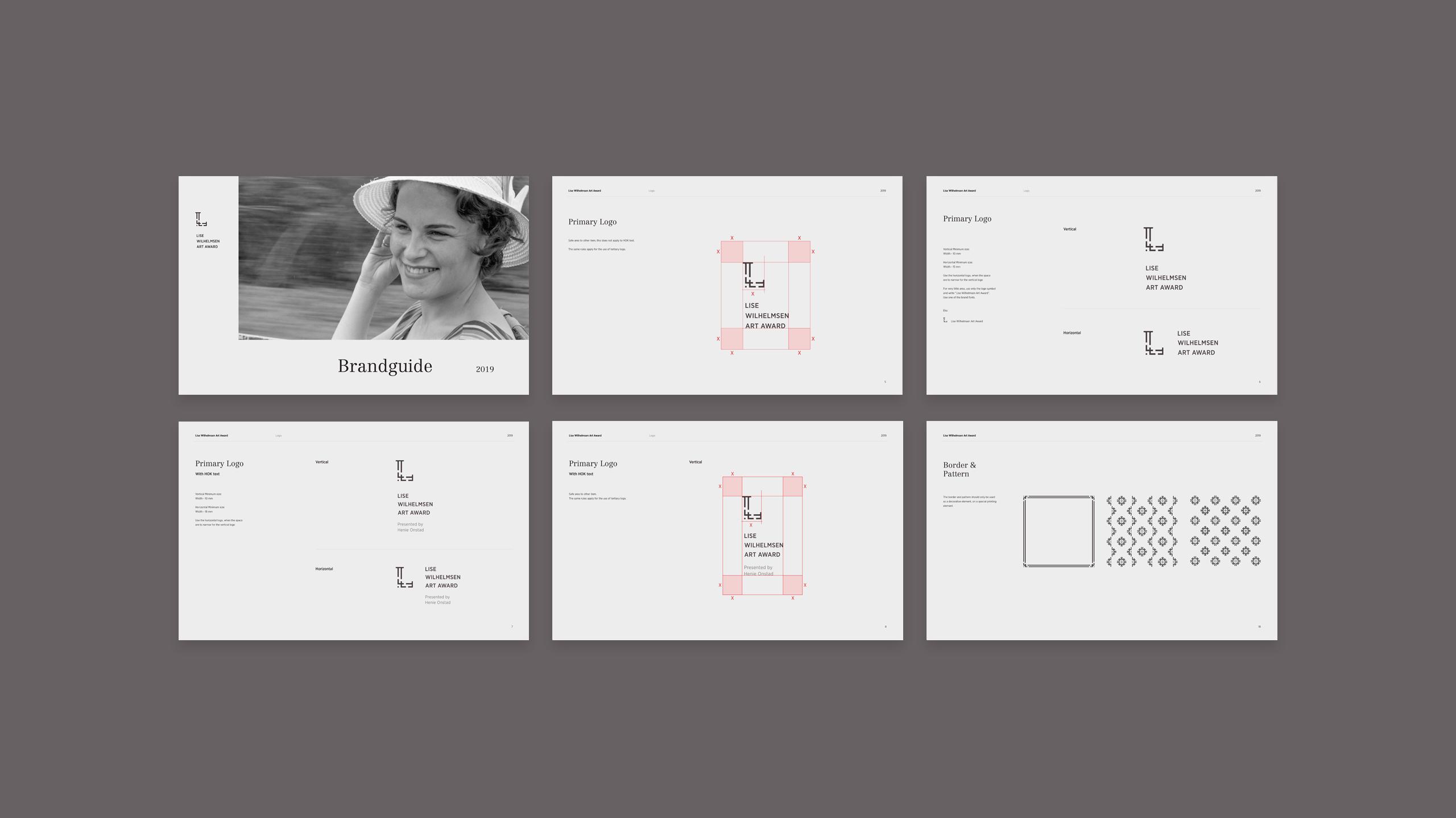 Brand Guide for Lise Wilhelmsen Art Award, designed by SBDS