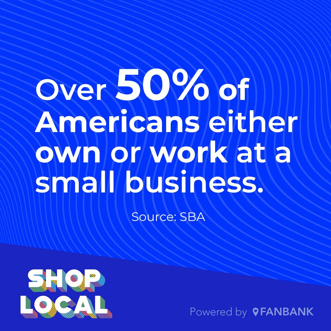 Small business statistic - Over 50% of Americans either own or work at a small business.