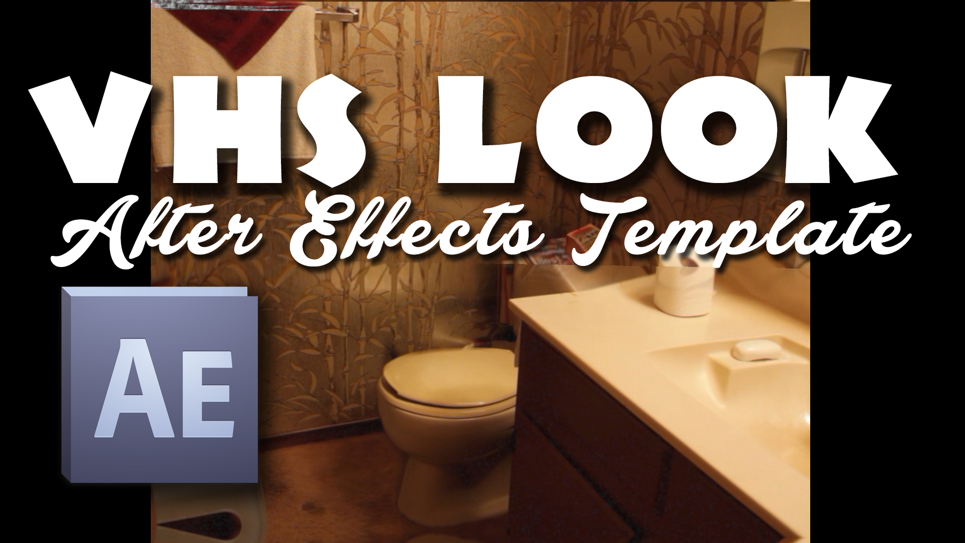 "Thumbnail image of bathroom that is an Adobe After Effects Product VHS look Template to make your videos look like 80s vhs tape with the noise if you open it in Adobe after effects, it's a free download, just put your email where it says ""Your Email"" and click Download Now button below"