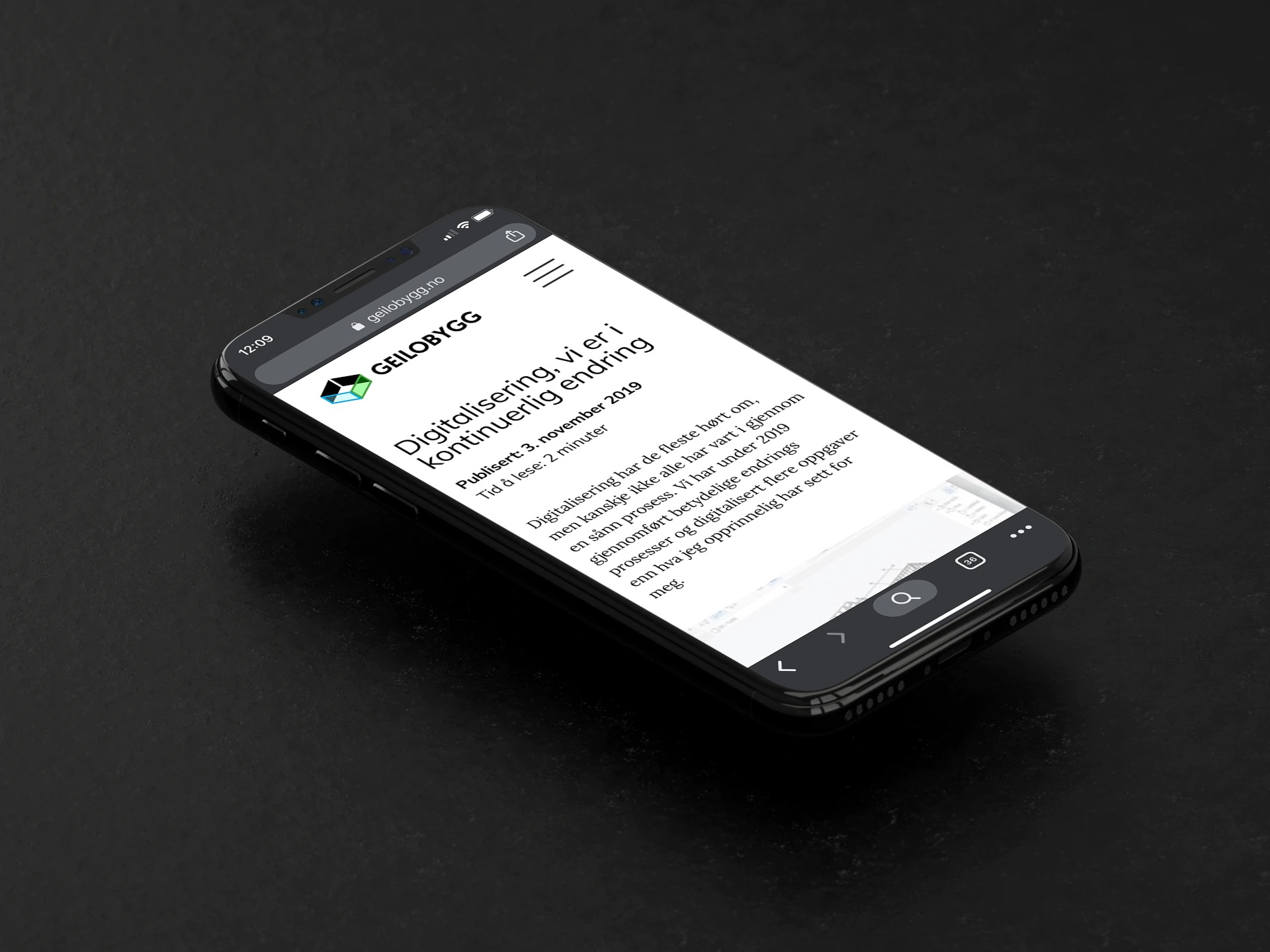 Geilobygg nettside mobil