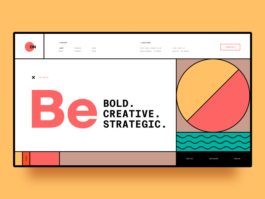Font trends 2020 example: Web page design with Swiss style typography