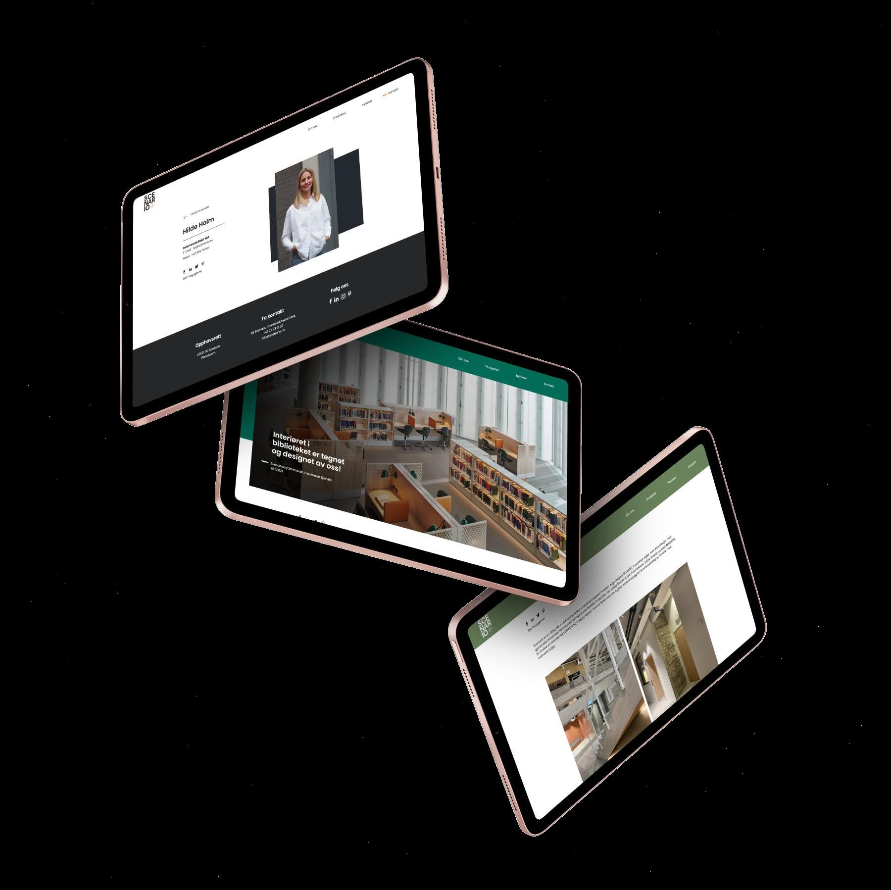 Scenario webside vist på flere iPads