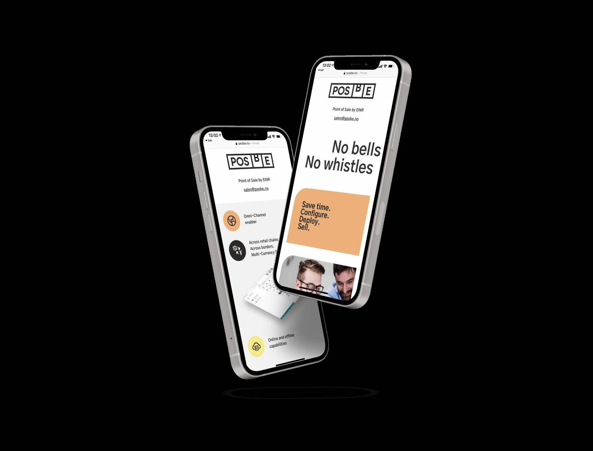 To mobiler med tilpasset versjon av POSBE nettside