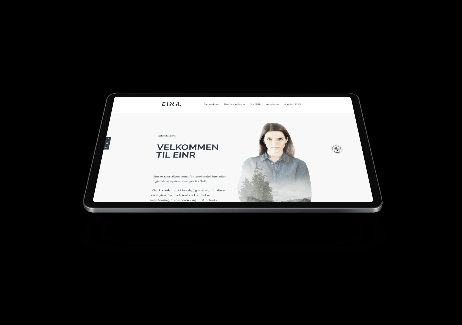 EINR nettside på iPad