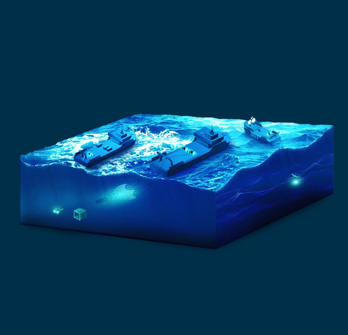 Illustrasjon. Fra overflate til havbunn med Scantrol teknologi