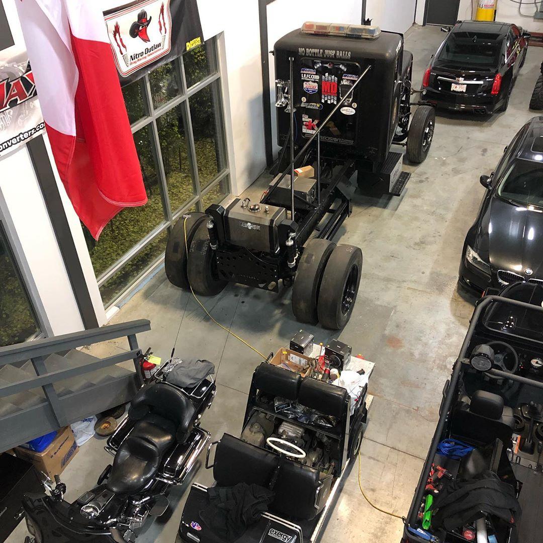 The Beast inside the Mario High Performance Diesel shop in Edmonton, Alberta