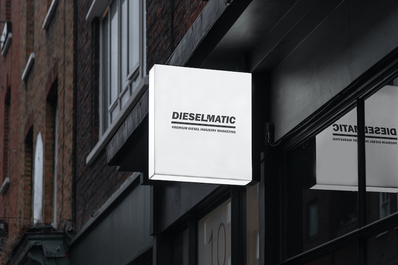 Dieselmatic front entrance sign