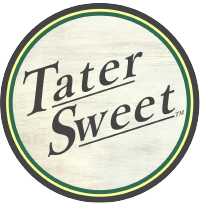 TaterSweet Logo, TaterSweet text on a circular, light tan background with gold and green surround.