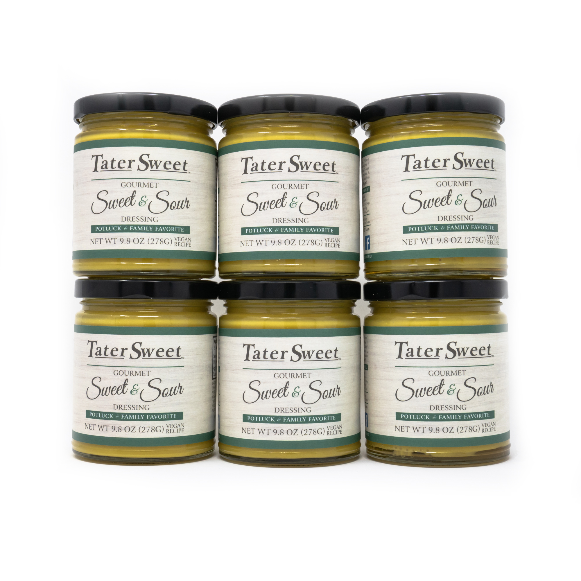 6 glass jars filled with TaterSweet Gourmet Dressing - Vegan