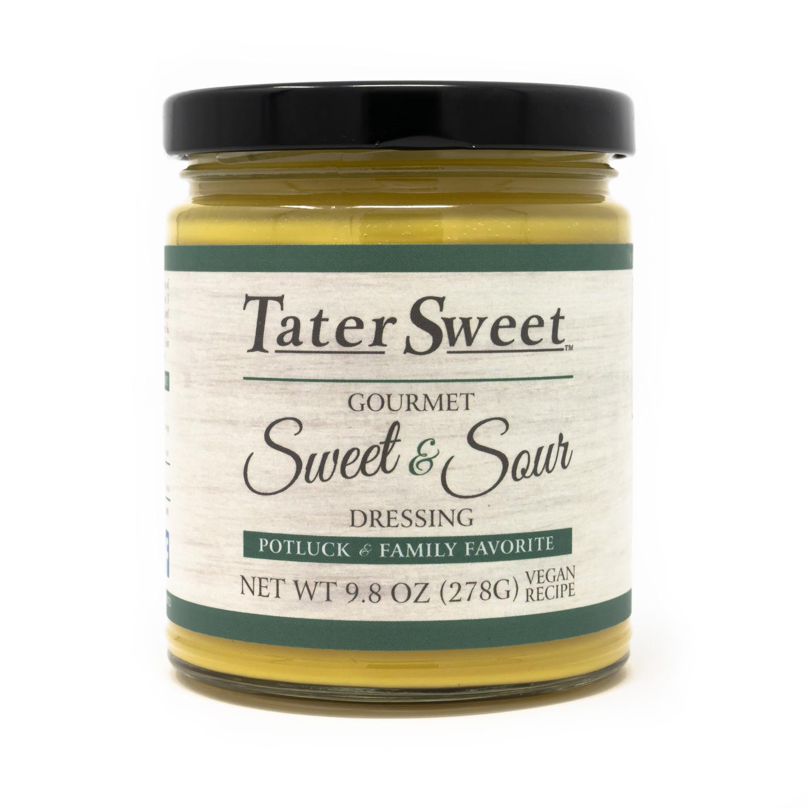 1 glass jar filled with TaterSweet Sweet & Sour Gourmet Dressing - Vegan