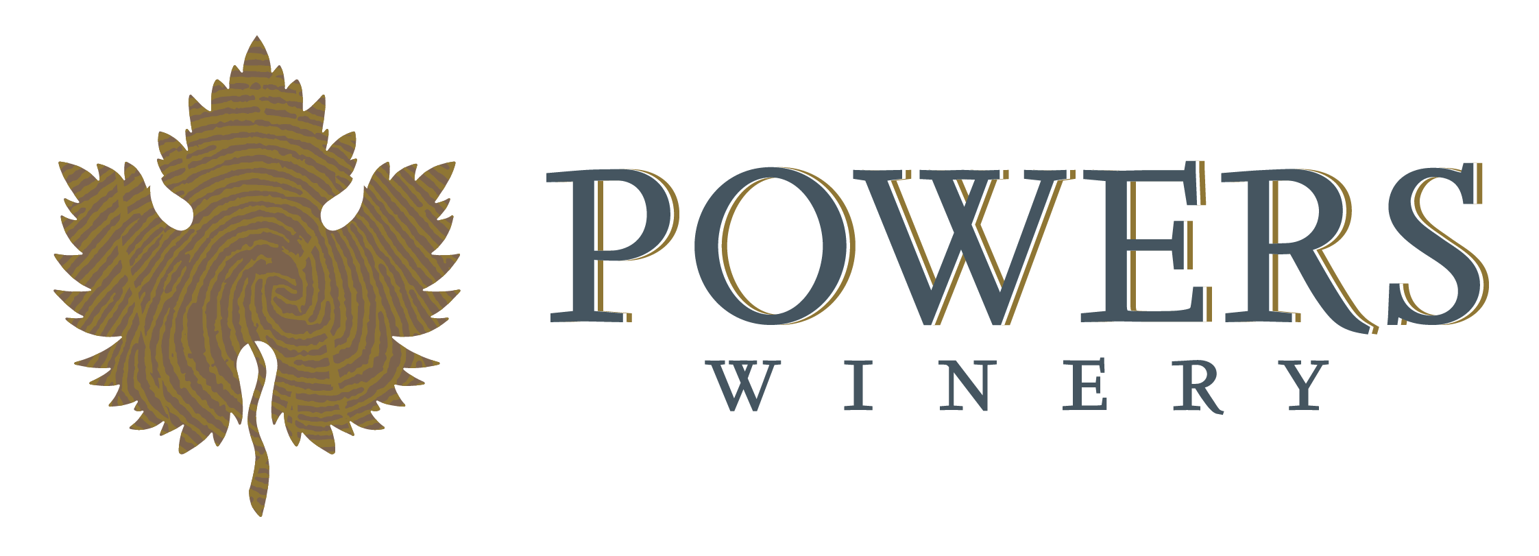 Powers winery navy logo with gold shadow