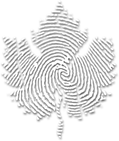 Powers Fingerprint Leaf logo white