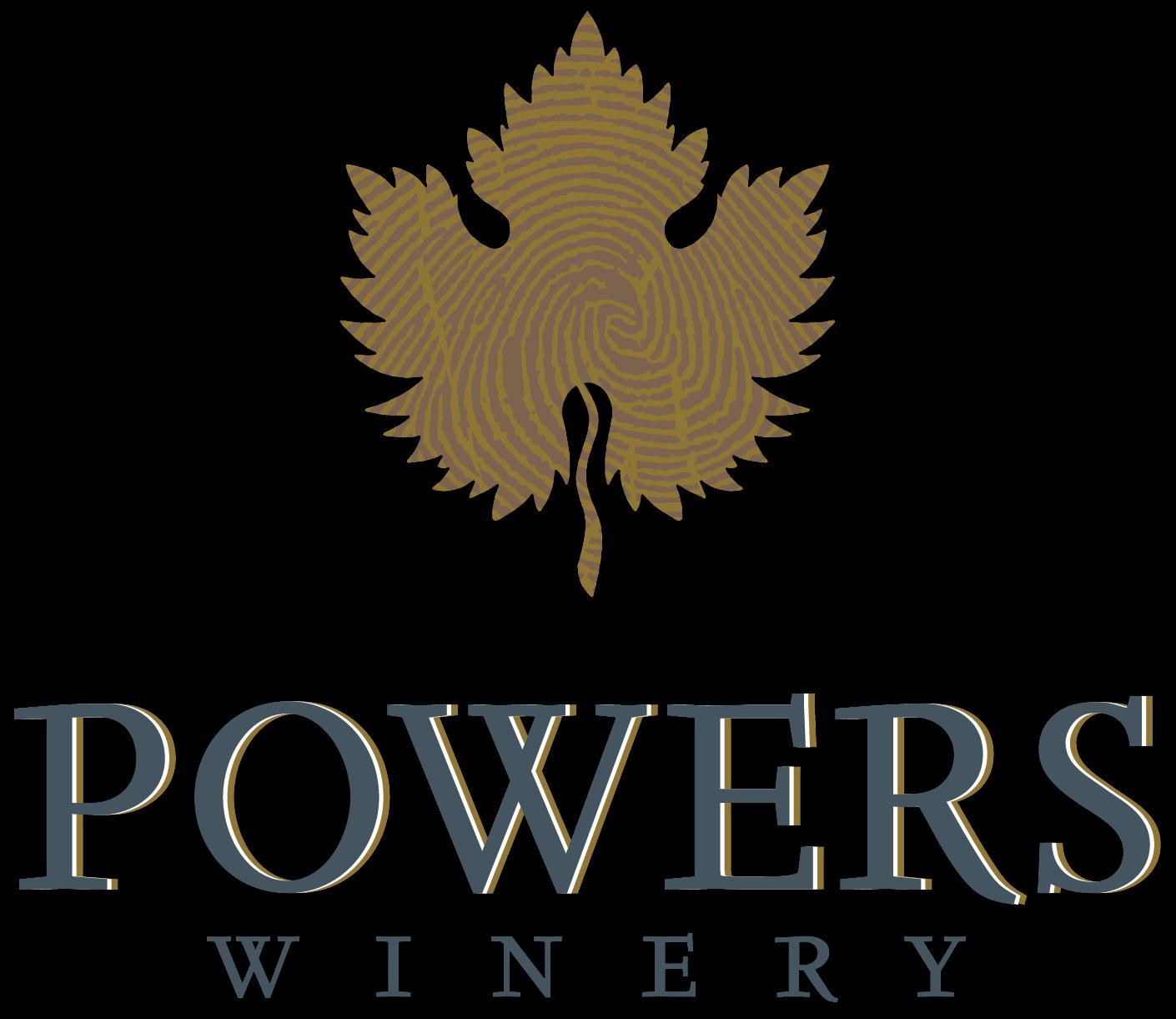 Powers Fingerprint Leaf logo white