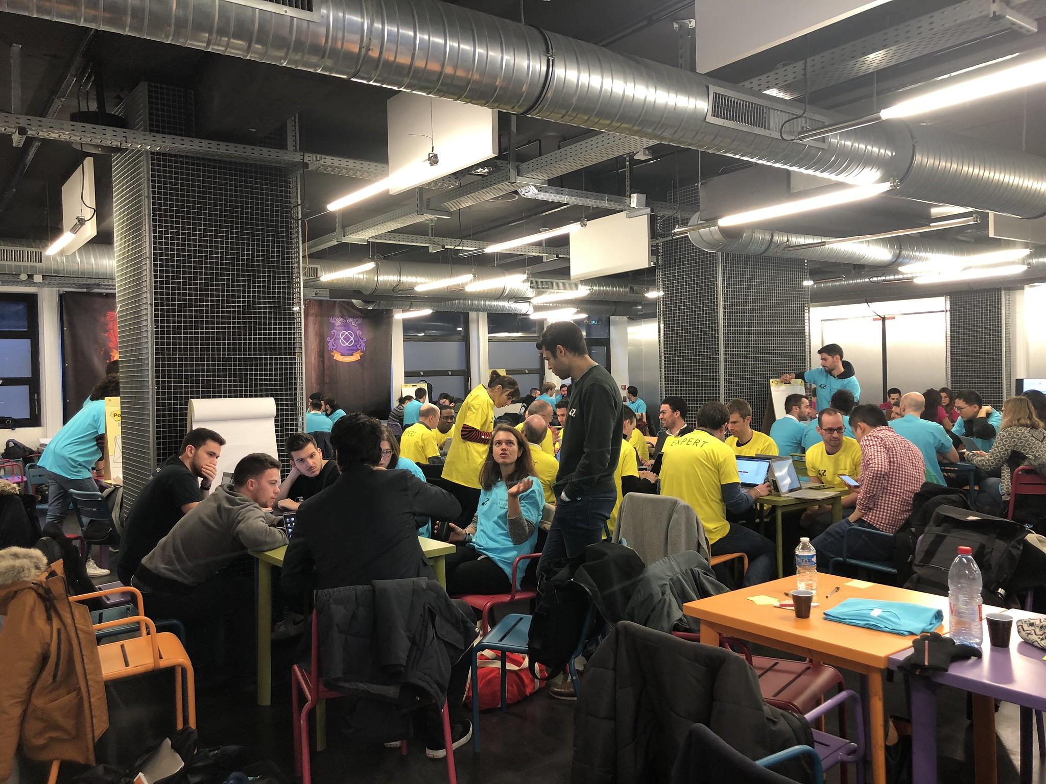 Beauty Tech Hackathon participants working hard