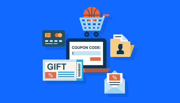 Icons of coupon codes and digital coupon icons