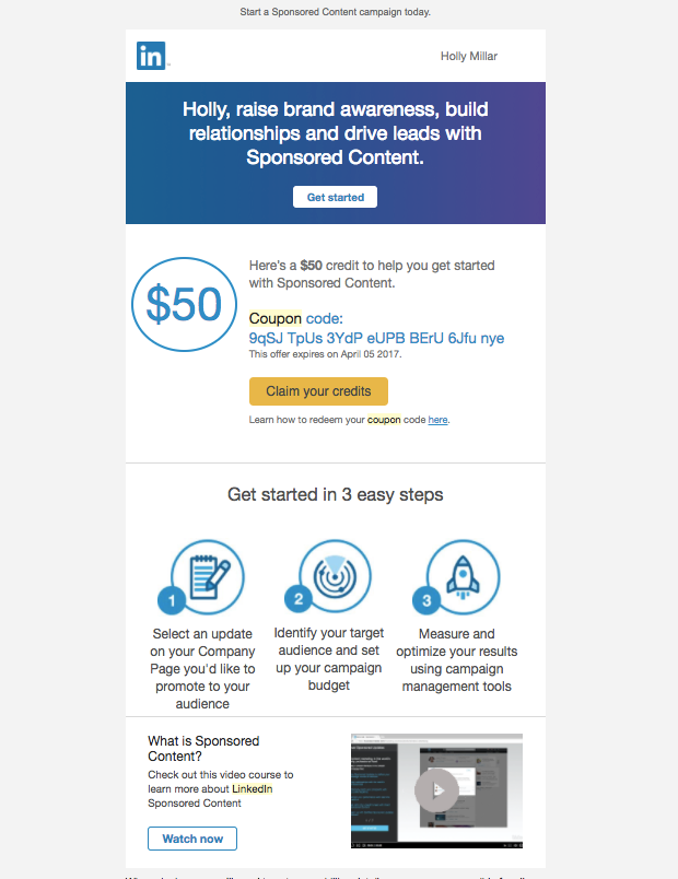 Image of LinkedIn email promotion