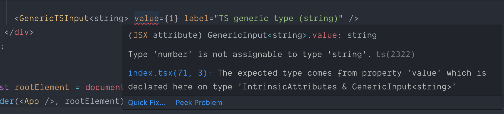 TypeScript error for generics