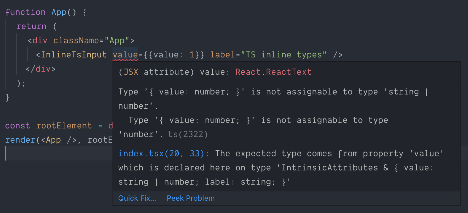 TypeScript error: Type '{ value: number}' is not assignable to type 'string'