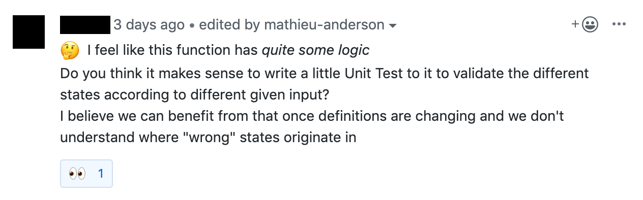 GitHub comment tagged with eyes emoji