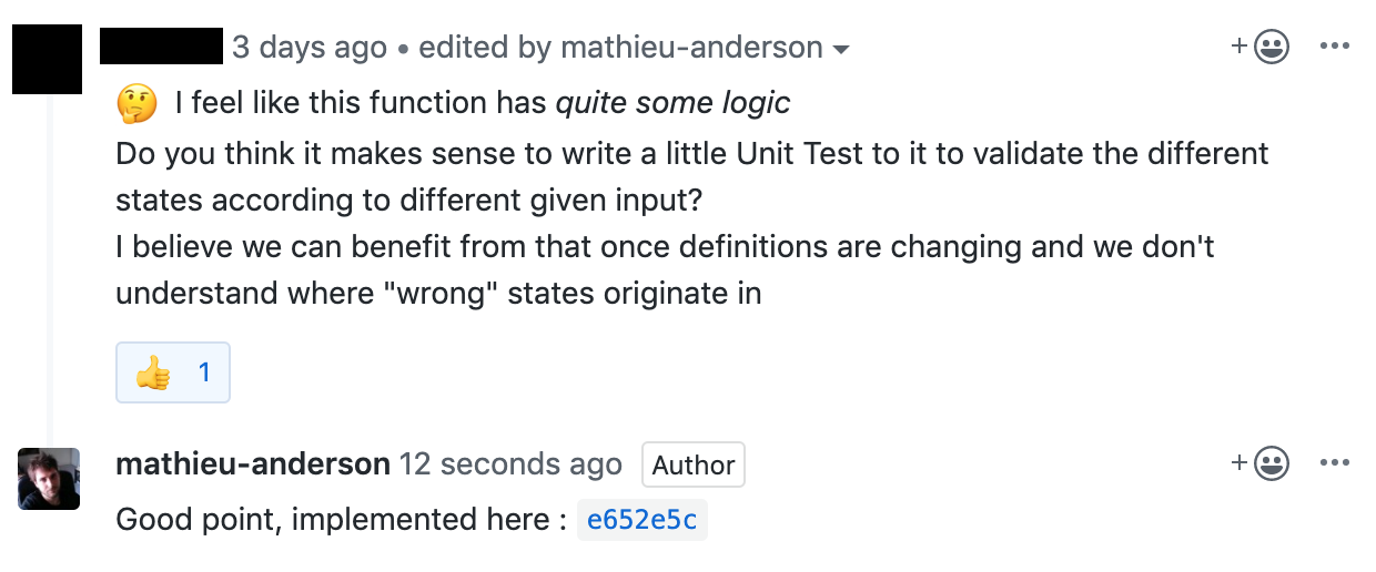 GitHub comment tagged with thumb up emoji and answered with link to commit