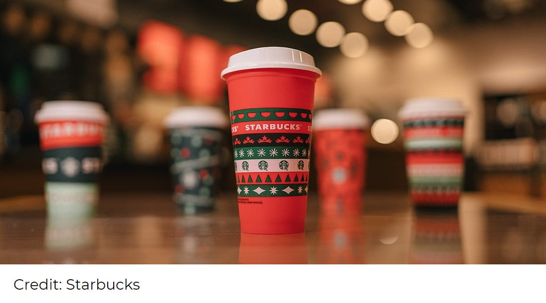 Starbucks reusable Christmas coffee cup