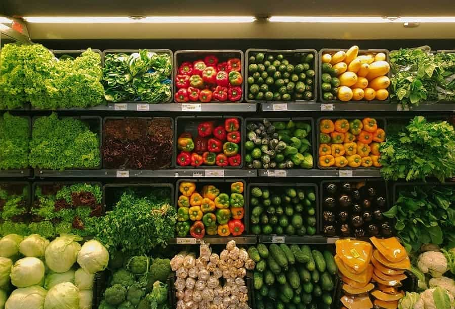 Vegetables in a grocery store