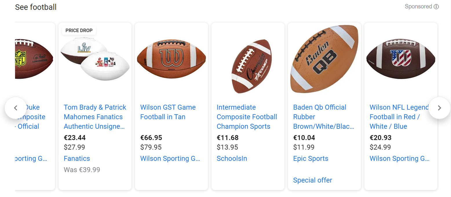 Google Shopping results for 'Football'