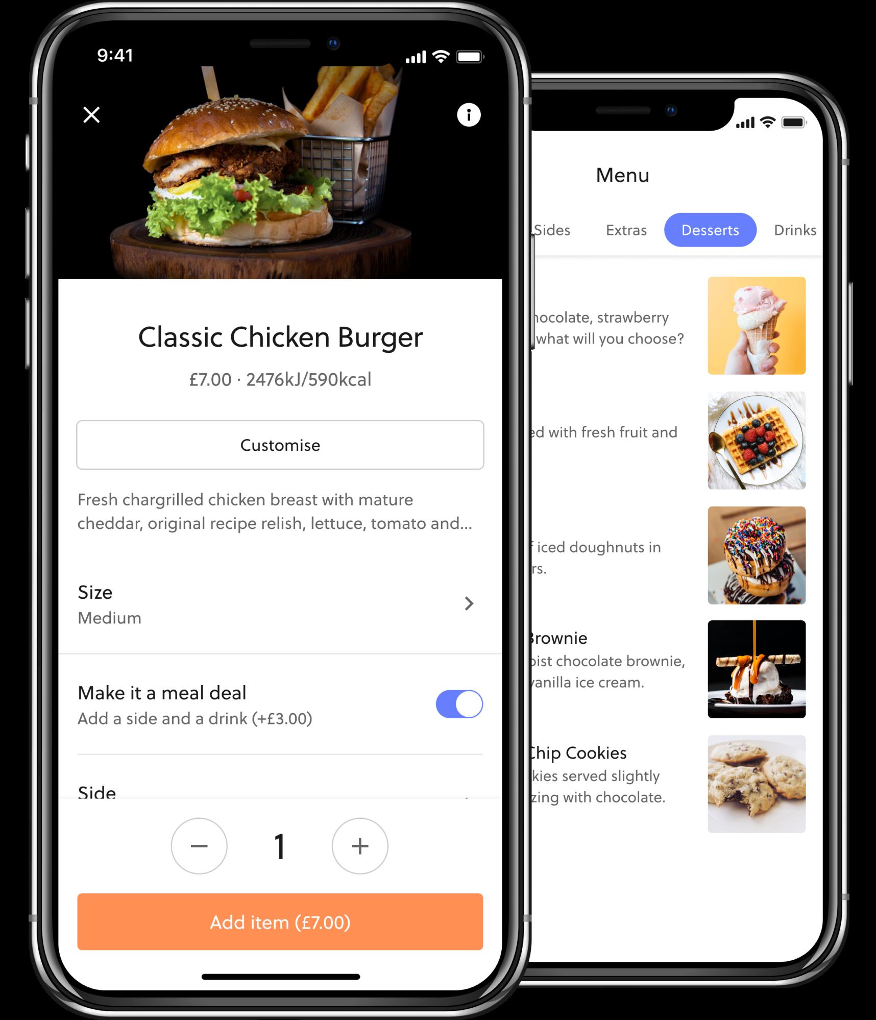 Mobile food ordering menu