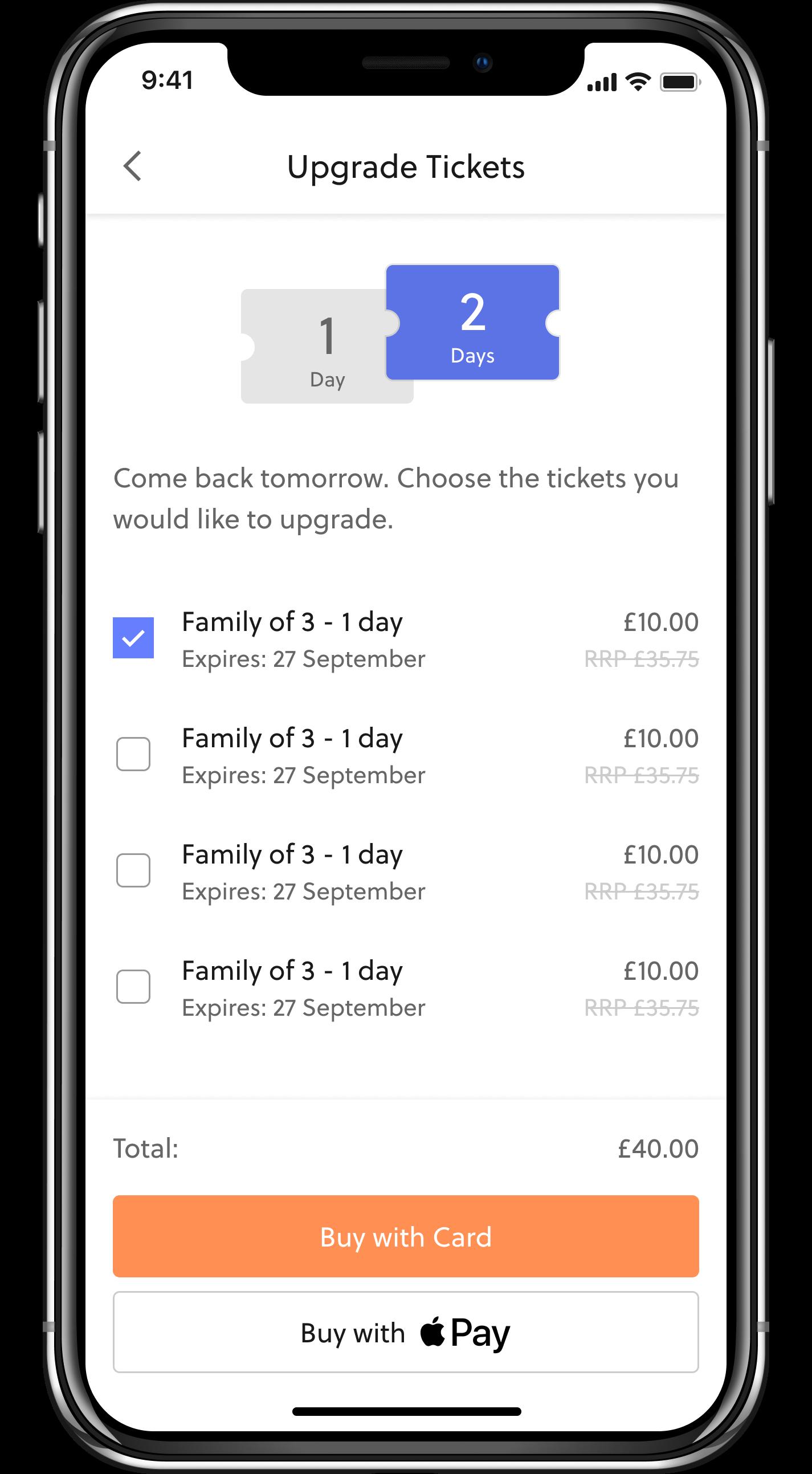 In-app ticket upgrades