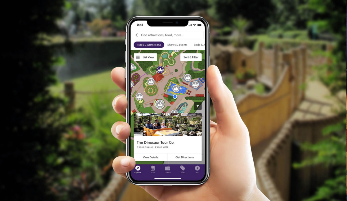 Interactive map theme park app
