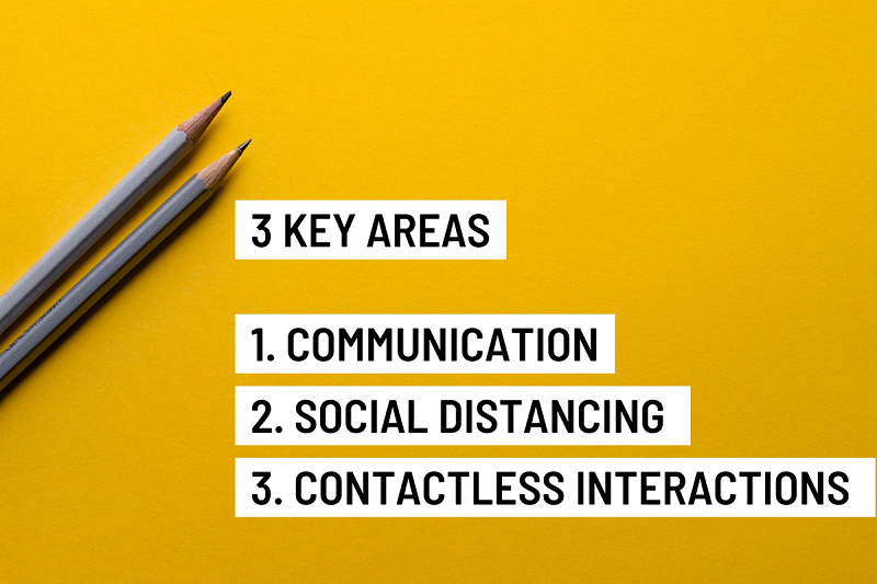 3 key areas communication, social distancing and contactless interactions
