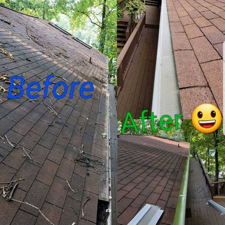 before and after gutter cleaning in erie