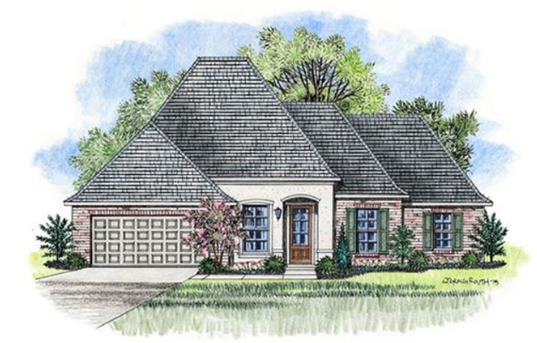 watercolor sketch of a house plan