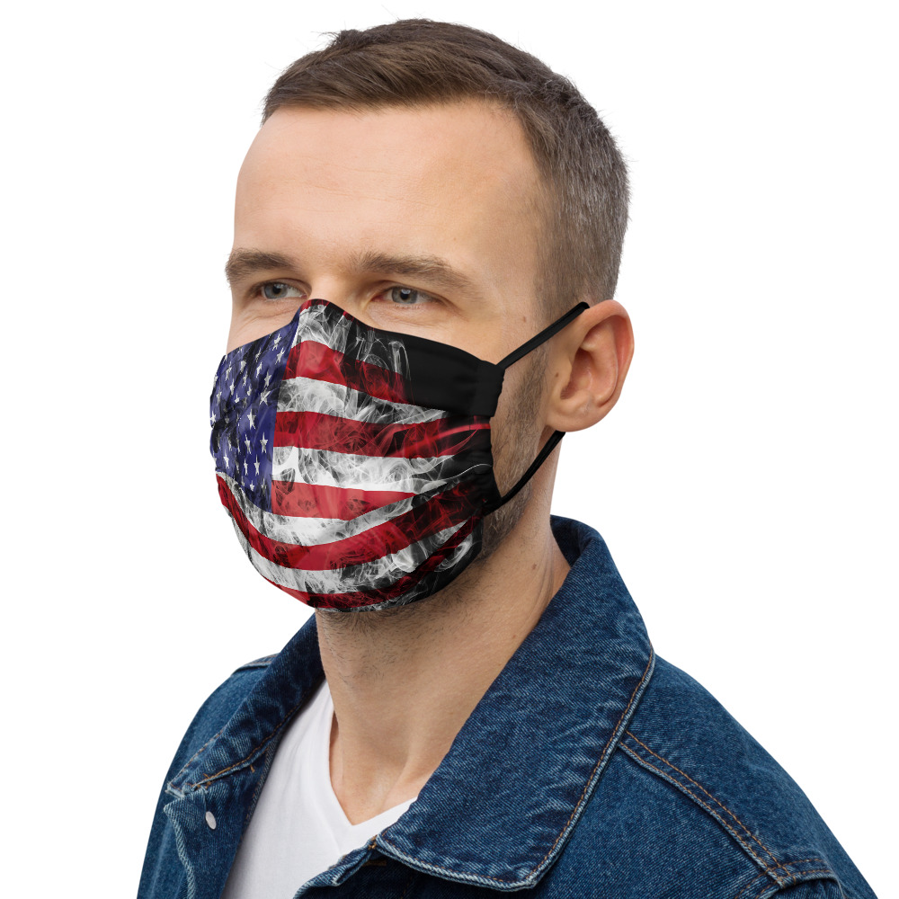 his All-Over Print Premium Face Mask is made of two soft layers of polyester and has a pocket for a filter or napkin for better protection.