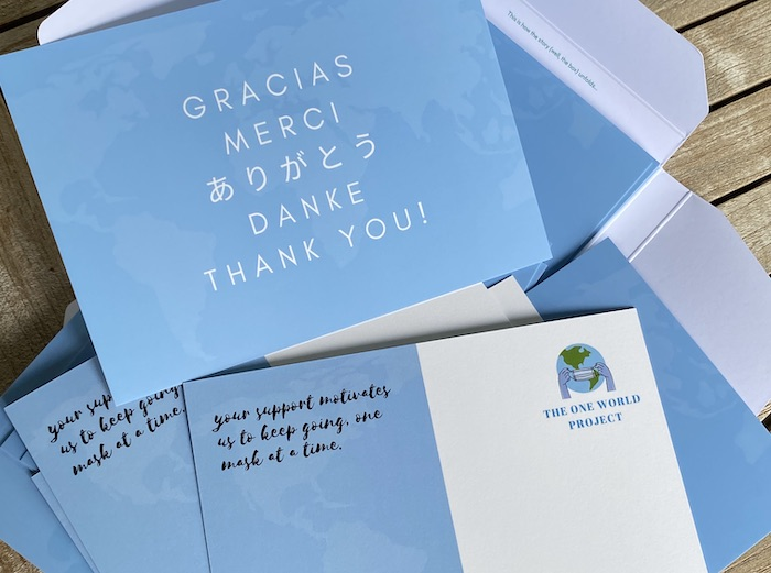 One world project thank you card designs