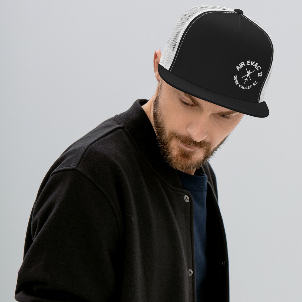 Classic trucker cap style with a cool fabric blend.   • 47% cotton, 28% nylon, 25% polyester • Structured, five-panel, high profile • Flat bill • Snapback closure • Snapback closure • Head circumference: 21⅝″–23⅝″ (53.3 cm–58.4 cm) • Blank product sourced from Vietnam or Bangladesh