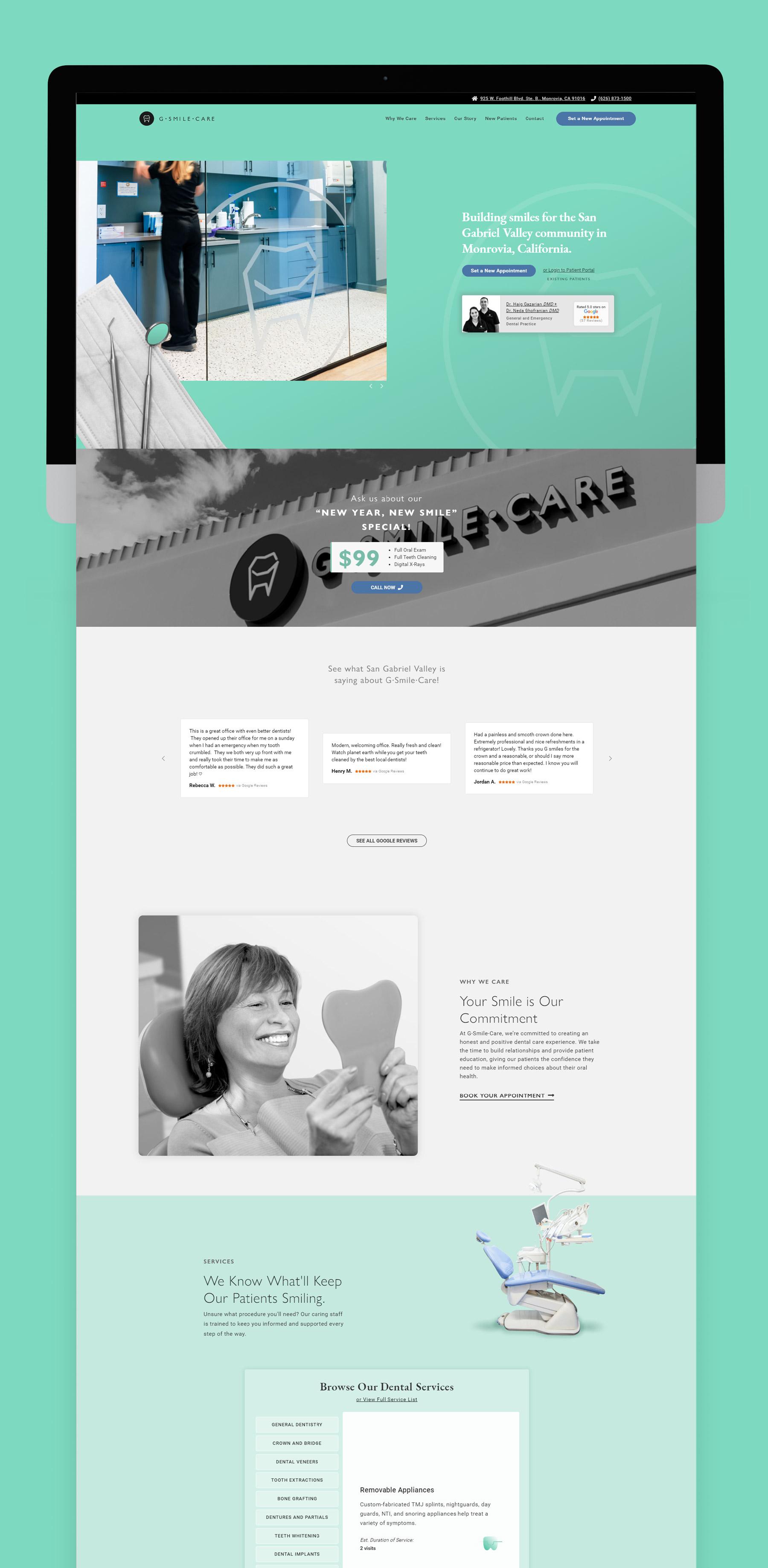 G Smile Care Web Design Desktop