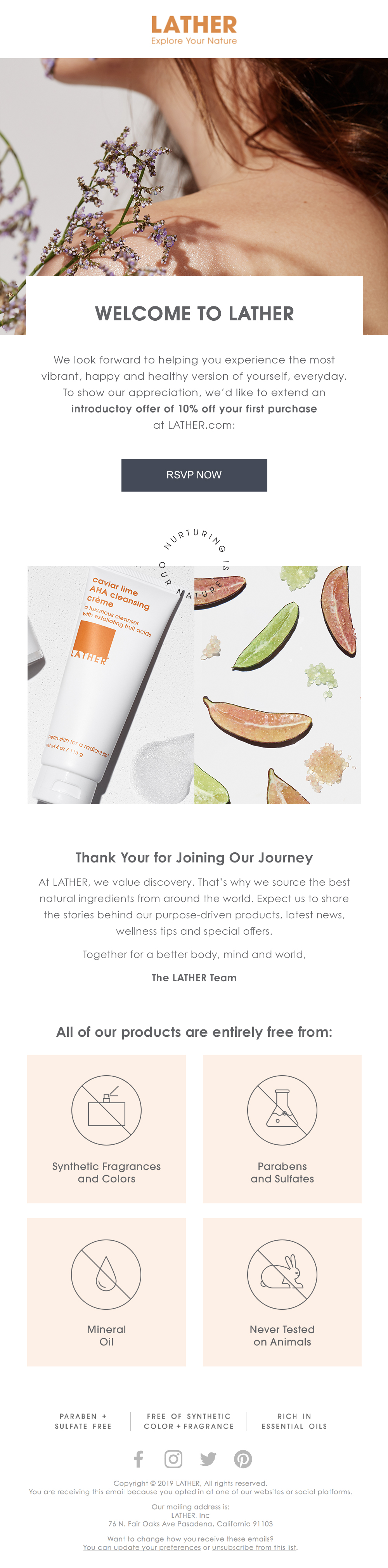 LATHER Welcome Email Series 1