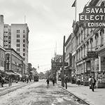 Rare Photos of Savannah from the early 1900s.  Bull Street, Broughton Street, Madison Square, Container ships and the ports. Unknown photo credit. #savannahga #historicsavannah #history #blackandwhite
